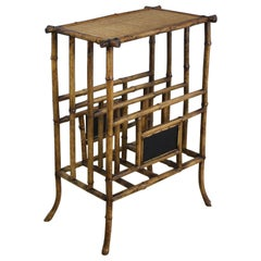 Antique English Bamboo Canterbury or Side Table