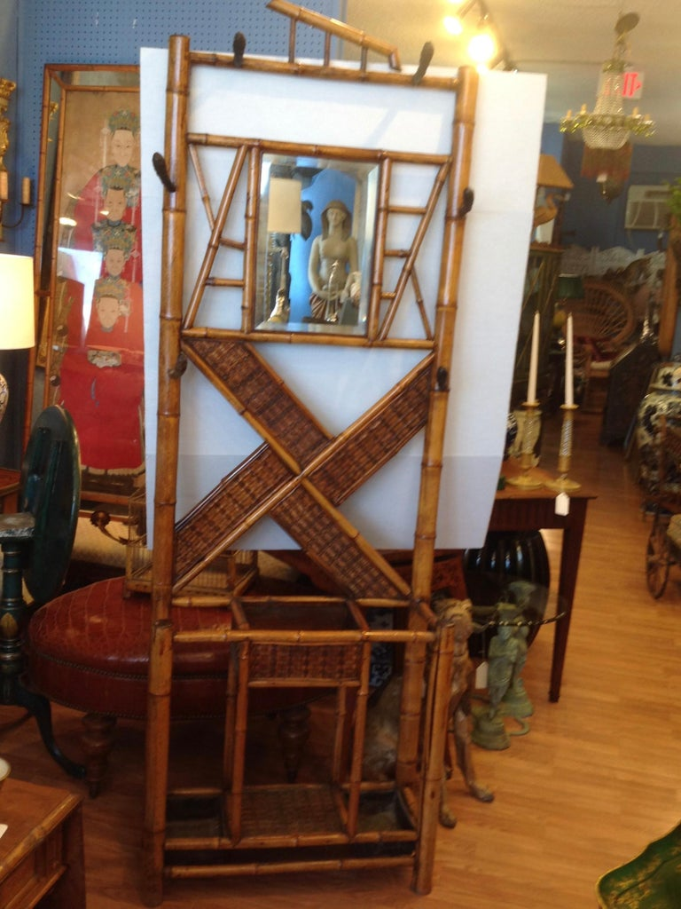 Antique English Bamboo Hall Stand For Sale 6