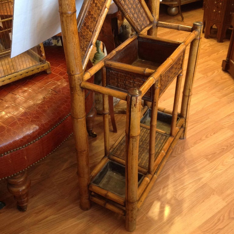 Antique English Bamboo Hall Stand For Sale 7