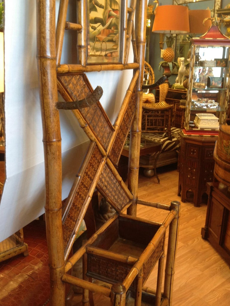 Antique English Bamboo Hall Stand For Sale 9