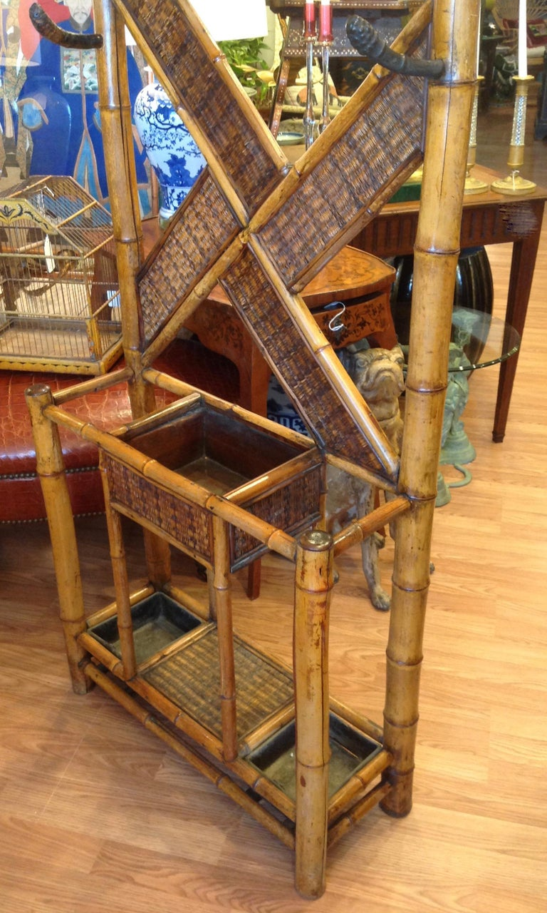 Antique English Bamboo Hall Stand For Sale 10