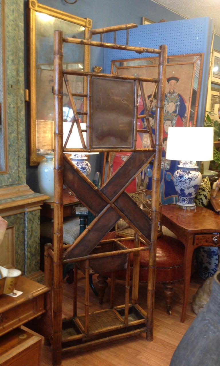 Antique English Bamboo Hall Stand For Sale 11