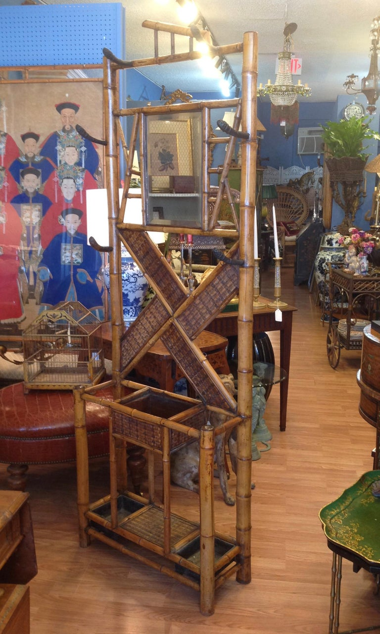 Antique English Bamboo Hall Stand In Good Condition For Sale In West Palm Beach, FL