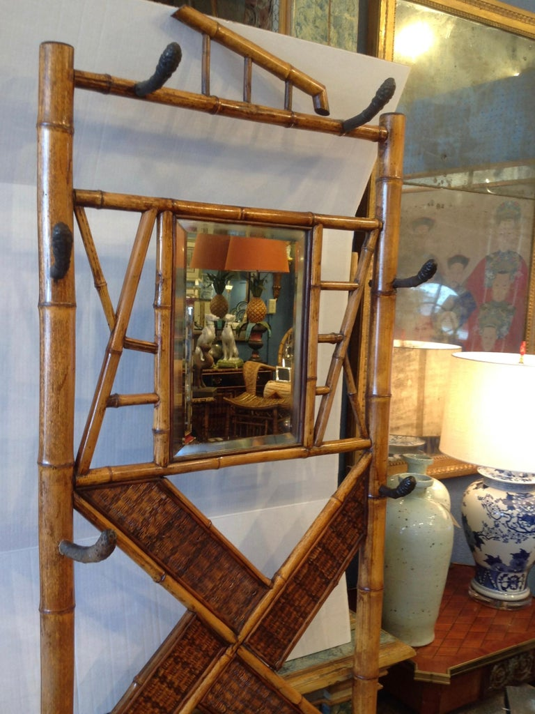 19th Century Antique English Bamboo Hall Stand For Sale