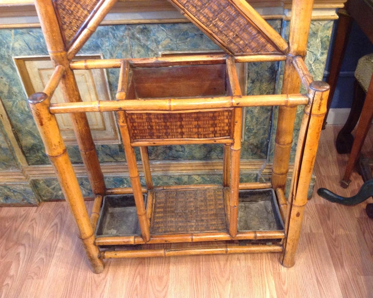 Grasscloth Antique English Bamboo Hall Stand For Sale