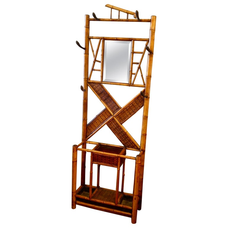Antique English Bamboo Hall Stand For Sale