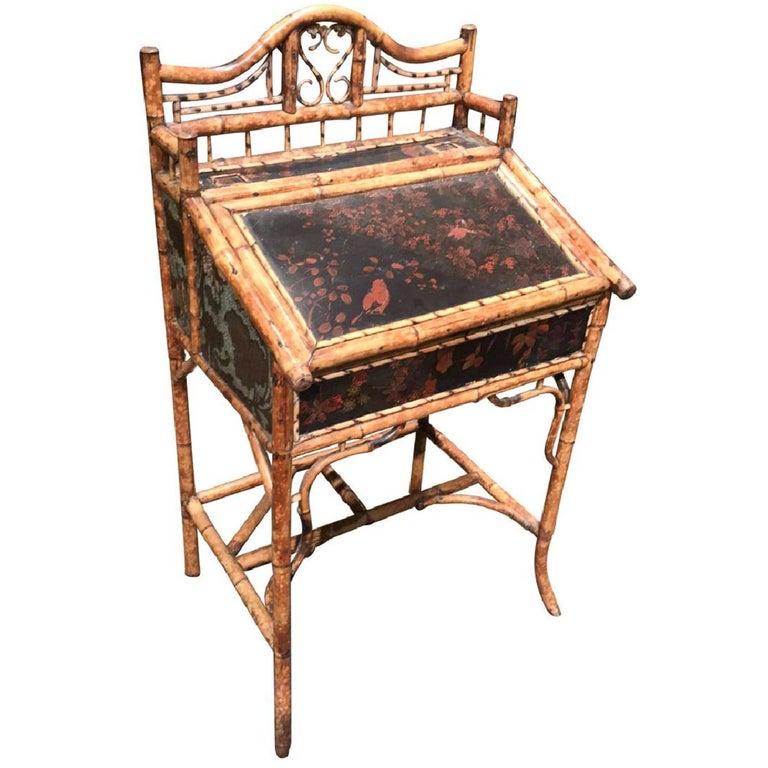 Antique English Bamboo Ladies Desk