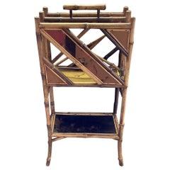 Antique English Bamboo Magazine Rack
