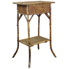 Antique English Bamboo Side Table/Sewing Box