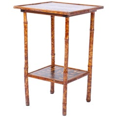 Antique English Bamboo Table with Butterfly Decoupage