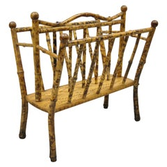 Antique English Bamboo Victorian Magazine Rack Stand