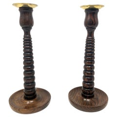 Antique English Beehive Design Carved Oak and Brass Candlesticks Circa 1900-1910