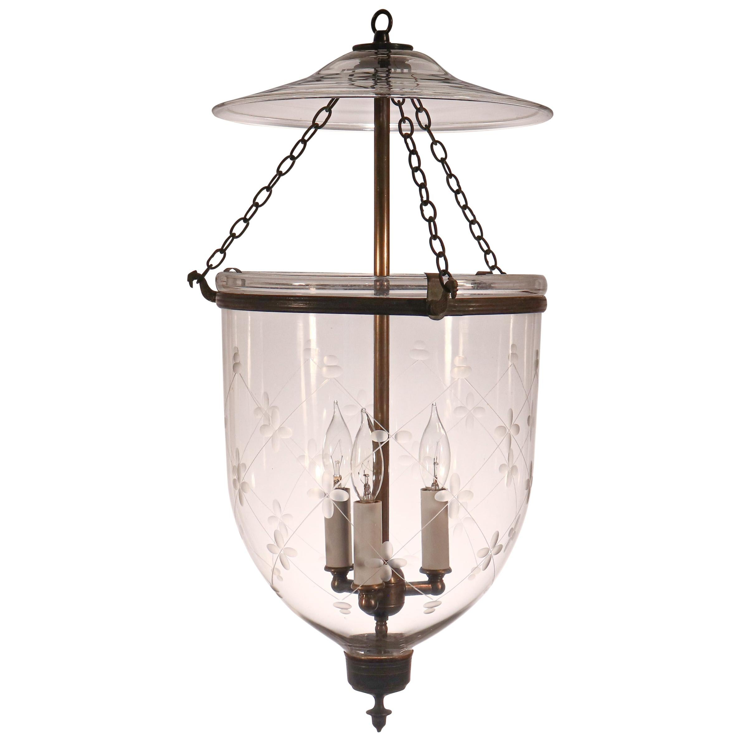 Antique English Bell Jar Lantern with Trellis Etching
