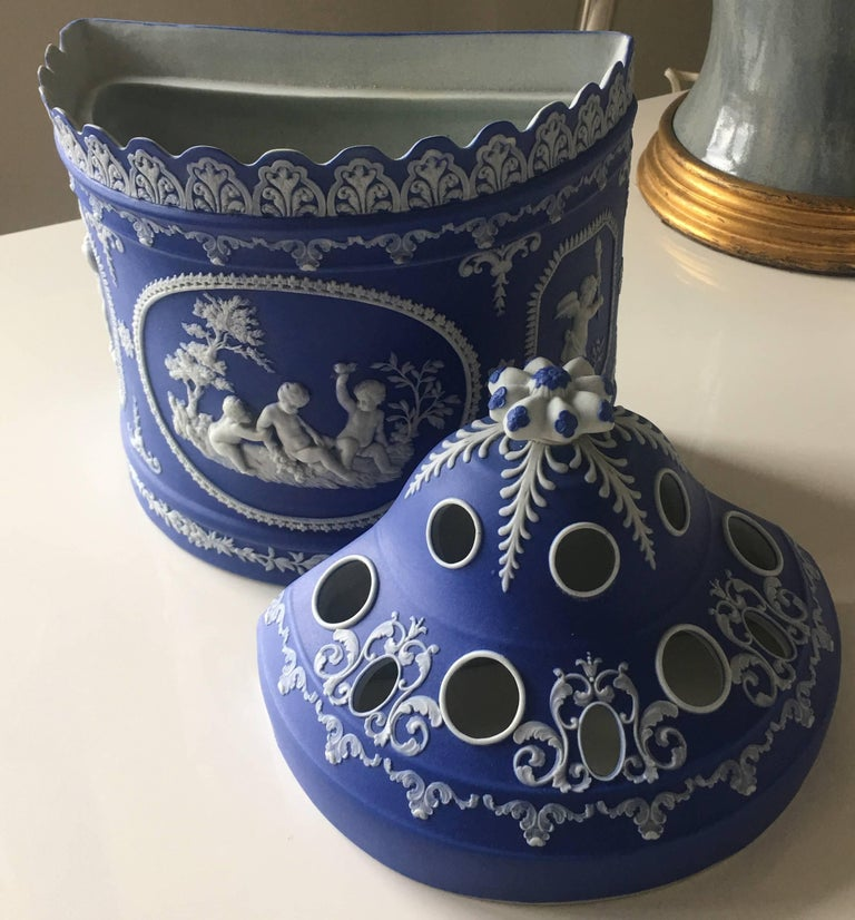 Antique English blue and white jasperware two-piece bulb pot. No makers mark or signature.