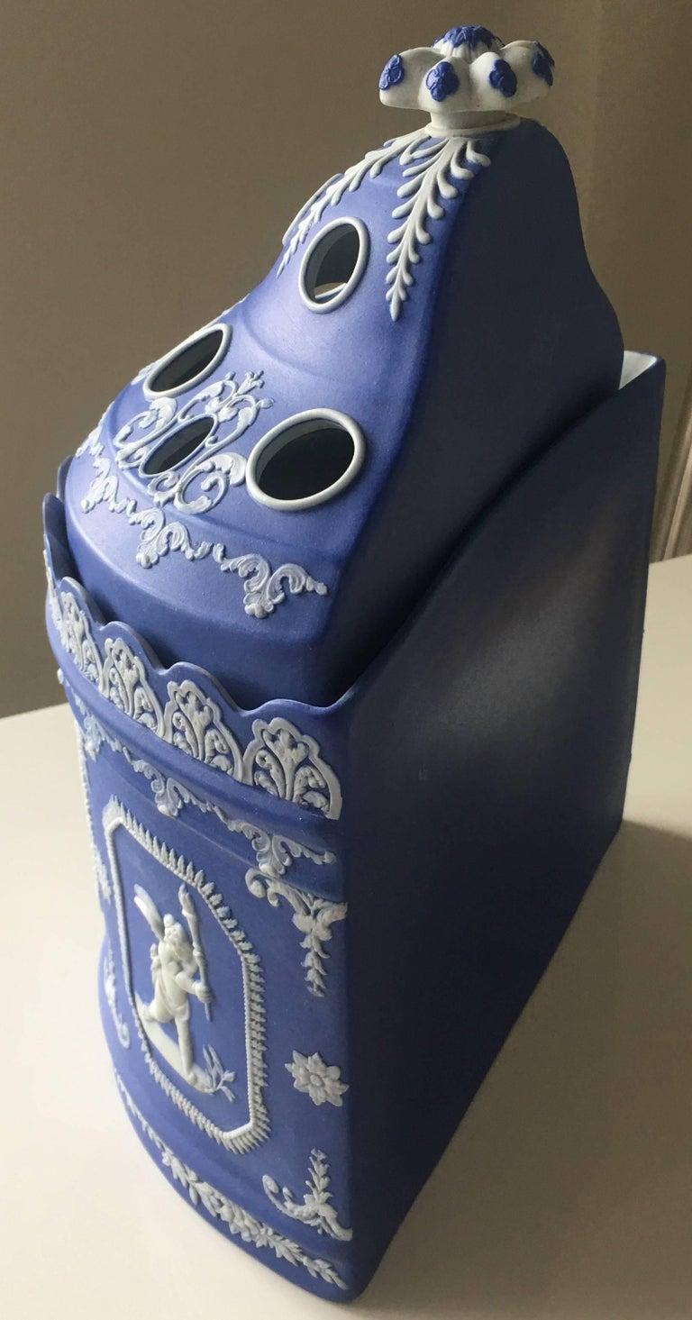 Neoclassical Antique English Blue Jasperware Two-Piece Bulb Pot For Sale