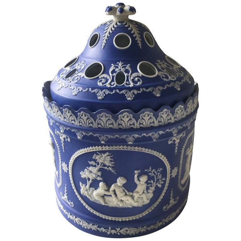Antique English Blue Jasperware Two-Piece Bulb Pot For Sale