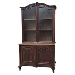 Antique English Bookcase in Mahogany, Queen Anne Style