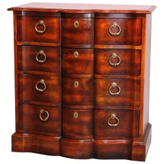 Antique English Bow Front Cherry Chest of Drawers, 20th Century