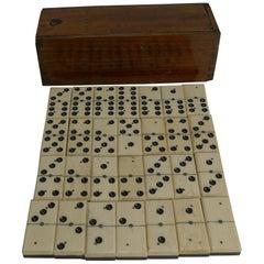 Antique English Boxed Set Bone and Ebony Wood Dominoes, circa 1900