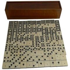 Antique English Boxed Set Bone and Ebony Wood Double Nines Dominoes