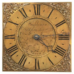Antique English Brass Clock Dial Face Industrial 1770 Fully Working