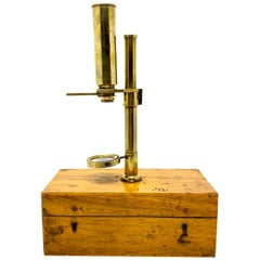Antique English Brass Field Microscope in Original Case, circa 1890-1900