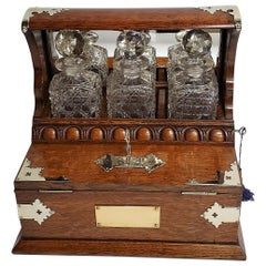 Antique English Brass Games Box Tantalus, circa 1860