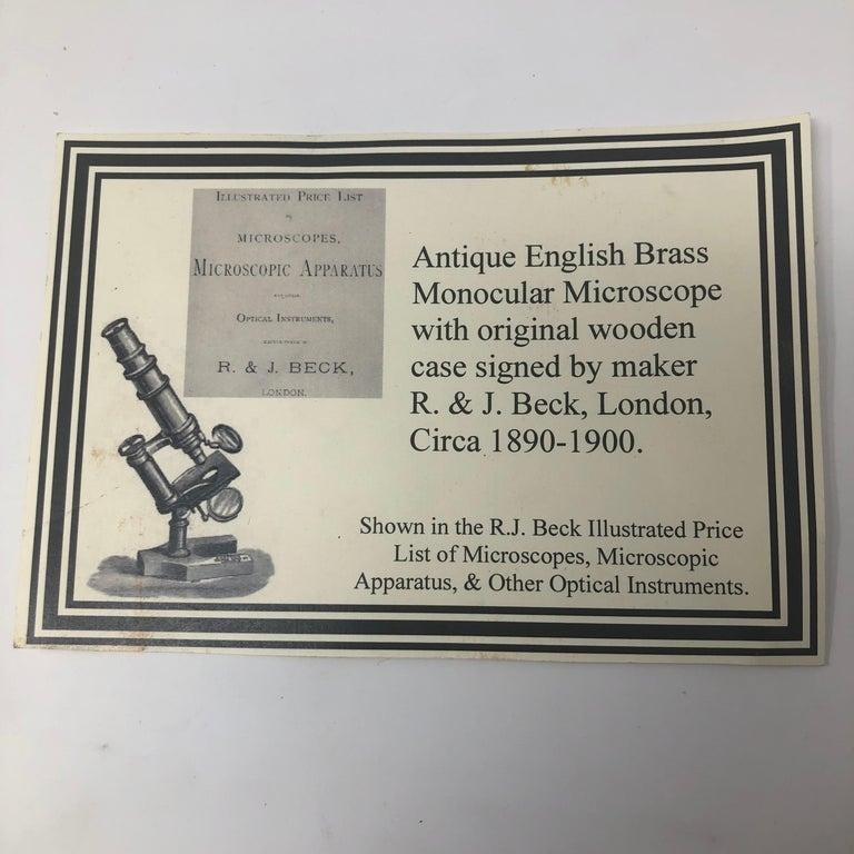 19th Century Antique English Brass Monocular Microscope Signed R&J Beck London, 1890-1900 For Sale