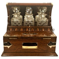 Antique English Brass Mounted Wooden Games Box Tantalus, circa 1860