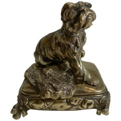 Antique English Brass or Bronze Dog Jewelry Box, circa 1880