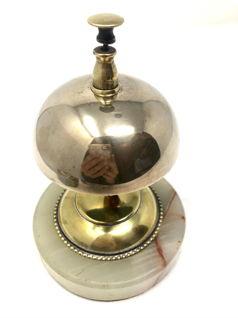 Antique English Brass Service Bell on Onyx Base, Circa 1900 In Good Condition For Sale In New Orleans, LA