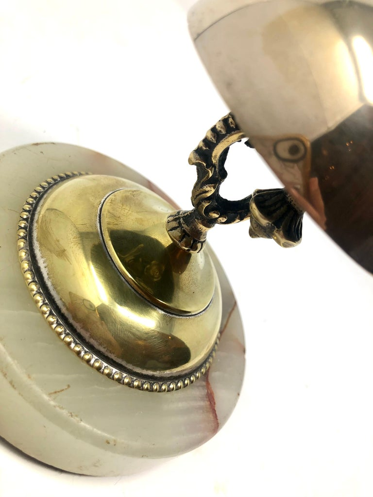 20th Century Antique English Brass Service Bell on Onyx Base, Circa 1900 For Sale