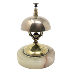 Antique English Brass Service Bell on Onyx Base, Circa 1900