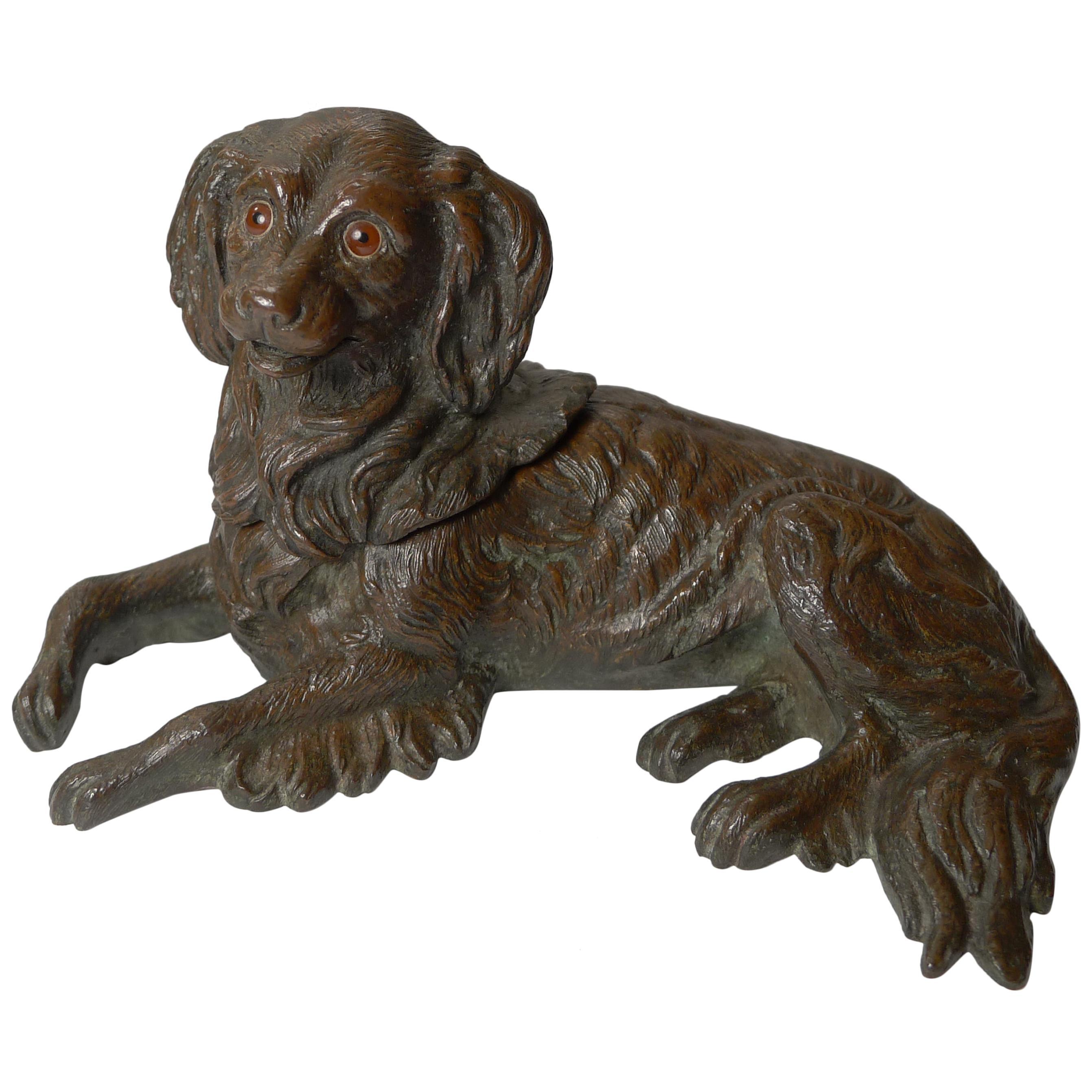 Antique English Bronze Dog Inkwell, King Charles Spaniel, c.1880