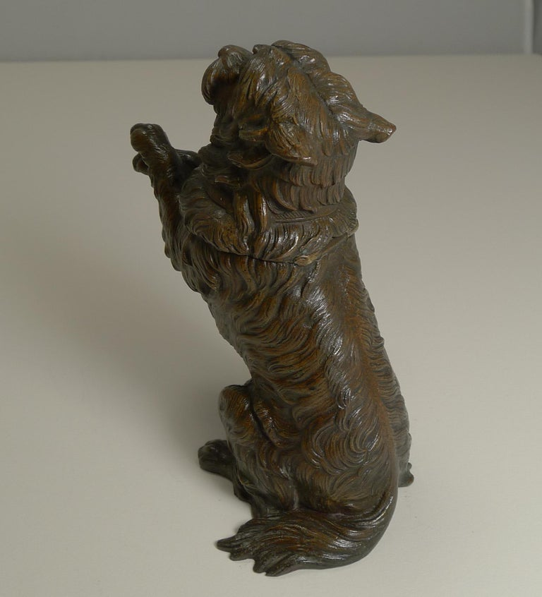 Late Victorian Antique English Bronze Figural Inkwell, Begging Dog with Glass Eyes, circa 1890 For Sale