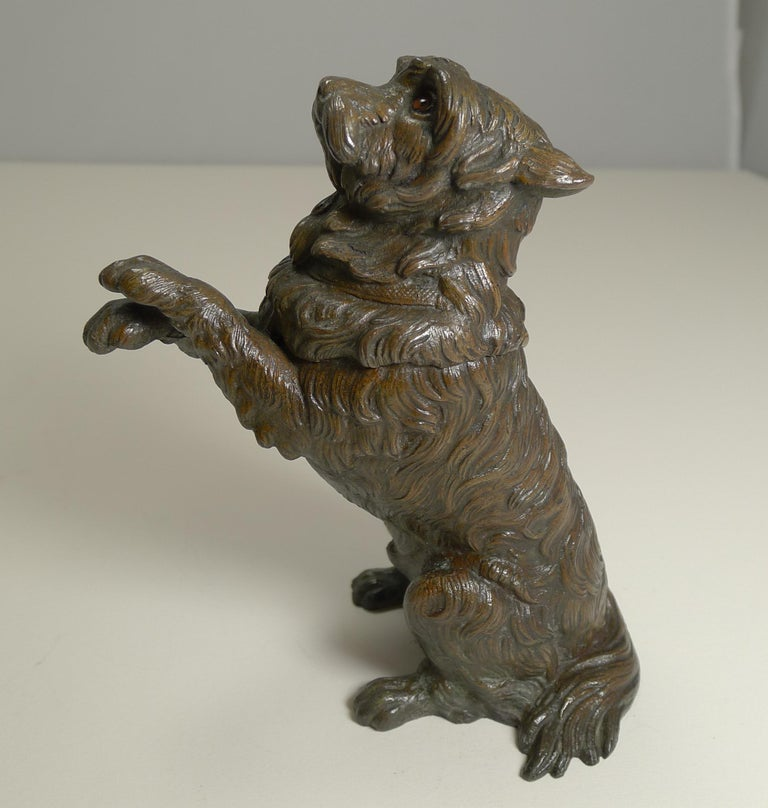 Antique English Bronze Figural Inkwell, Begging Dog with Glass Eyes, circa 1890 In Good Condition For Sale In London, GB