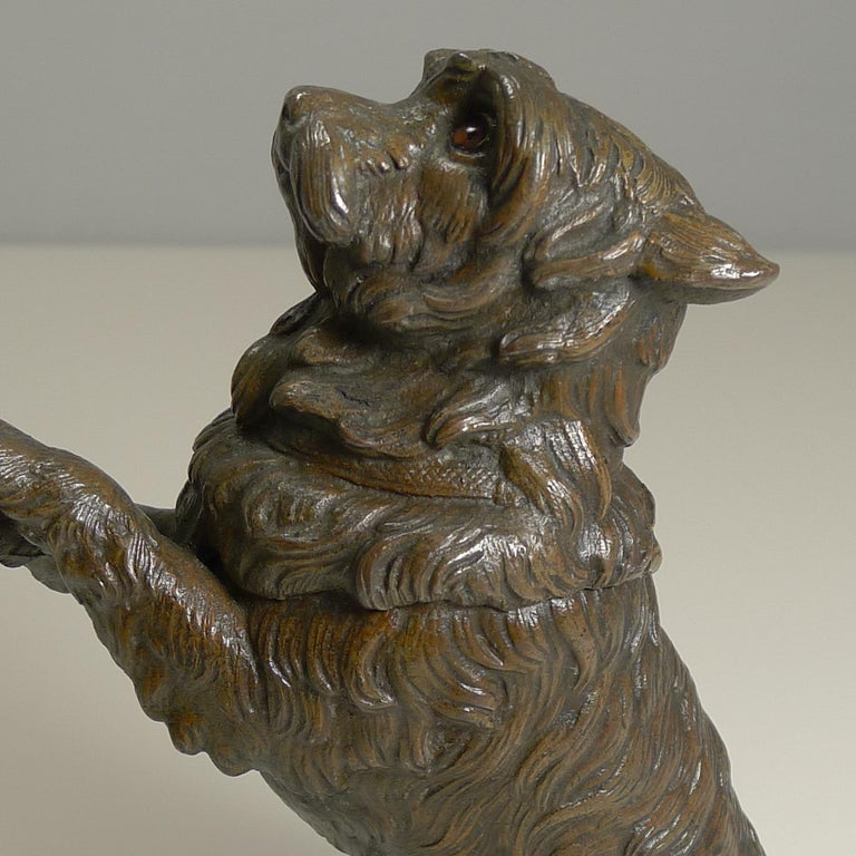 Late 19th Century Antique English Bronze Figural Inkwell, Begging Dog with Glass Eyes, circa 1890 For Sale