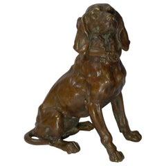 Antique English Bronze Hunting Hound / Dog Inkwell, circa 1880