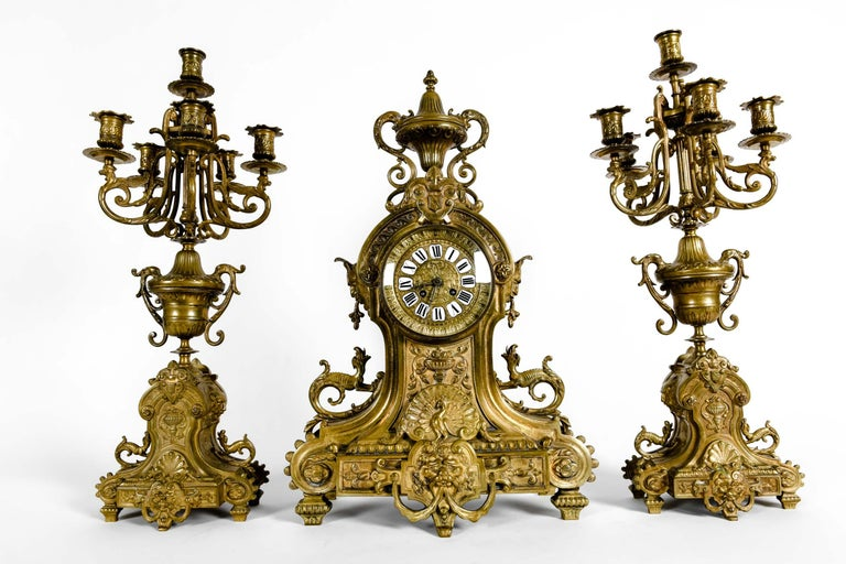 Antique English Bronze Three-Piece Clock Garniture Set For Sale 7