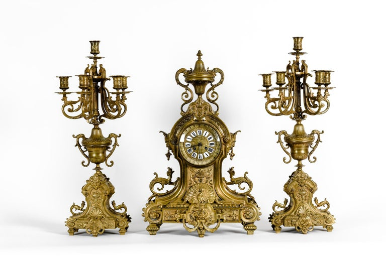 Antique English Bronze Three-Piece Clock Garniture Set For Sale 12