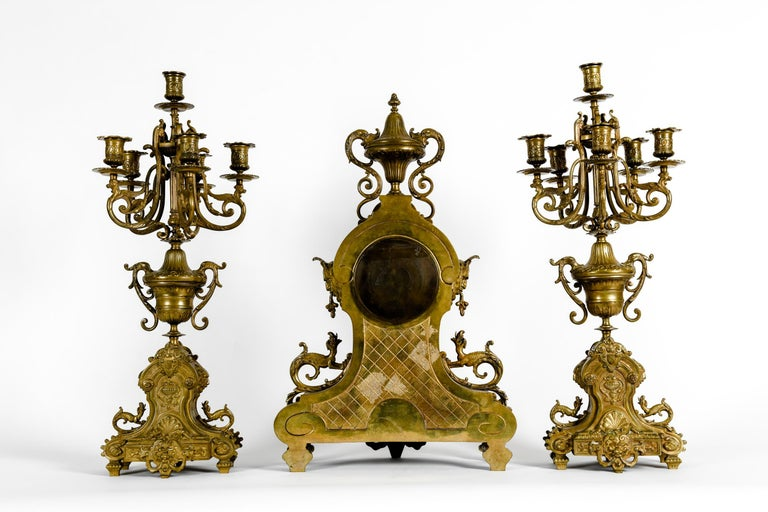 Antique English Bronze Three-Piece Clock Garniture Set In Excellent Condition For Sale In Hudson, NY