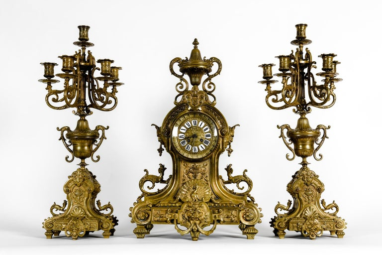 Late 19th Century Antique English Bronze Three-Piece Clock Garniture Set For Sale
