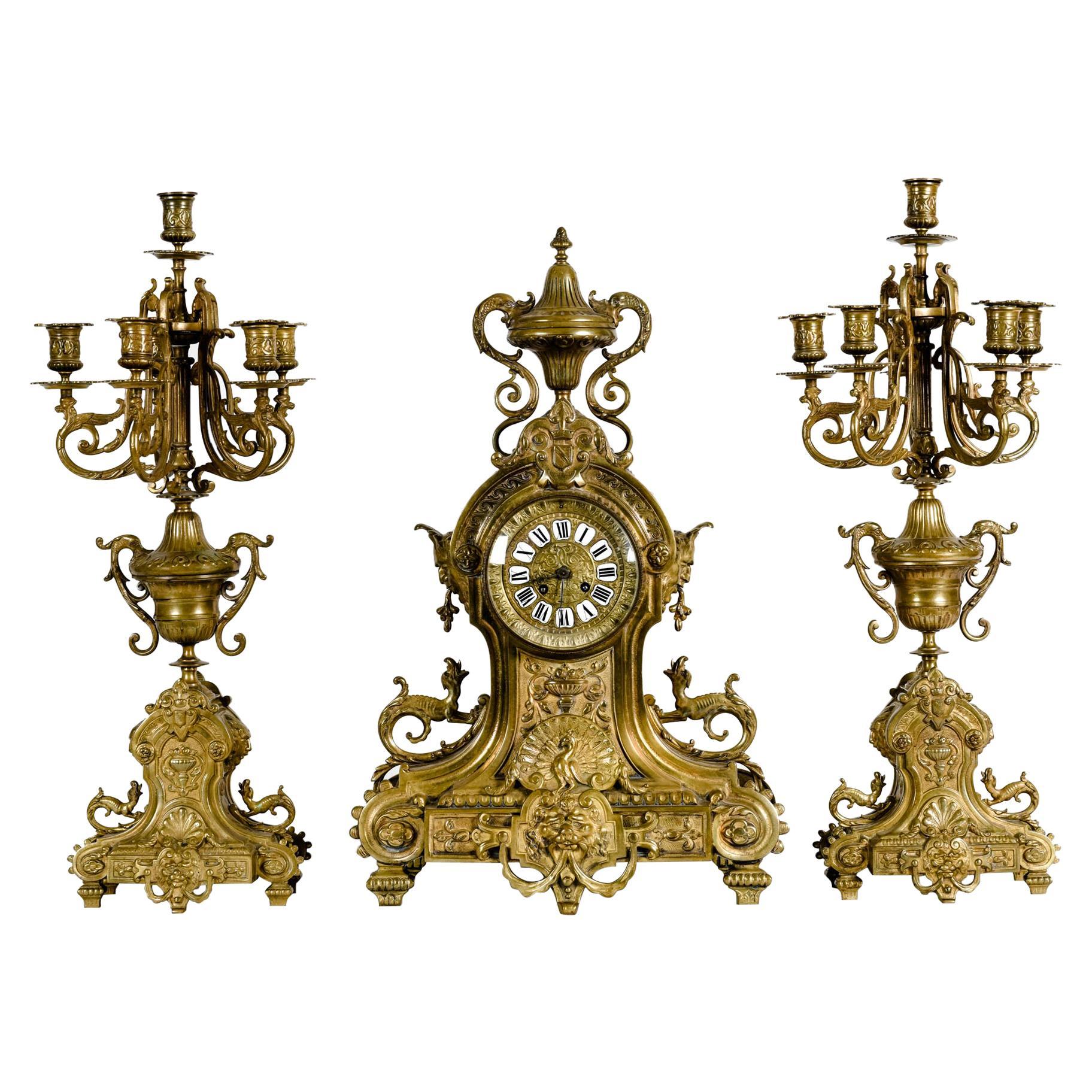Antique English Bronze Three-Piece Clock Garniture Set