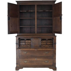 Antique English Bureau Bookcase Oak George III, 1800