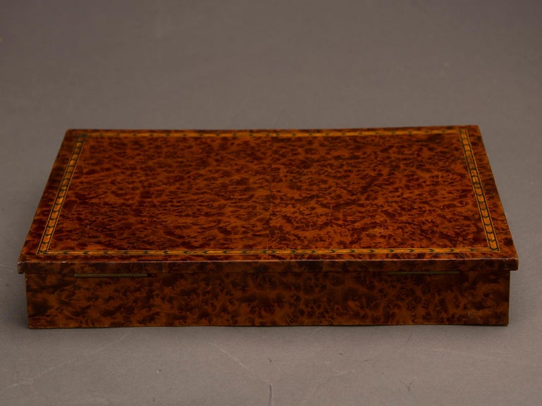 Veneer Antique English Burl Walnut Box from England, circa 1890 For Sale