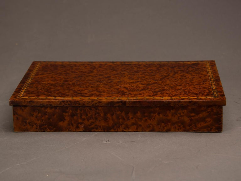 19th Century Antique English Burl Walnut Box from England, circa 1890 For Sale