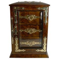 Antique English Burl Walnut Jewelry Cabinet / Box, circa 1880