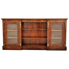 Antique English Burl Walnut Long Inlaid Ormolu Bookcase Buffet Sideboard, 1870