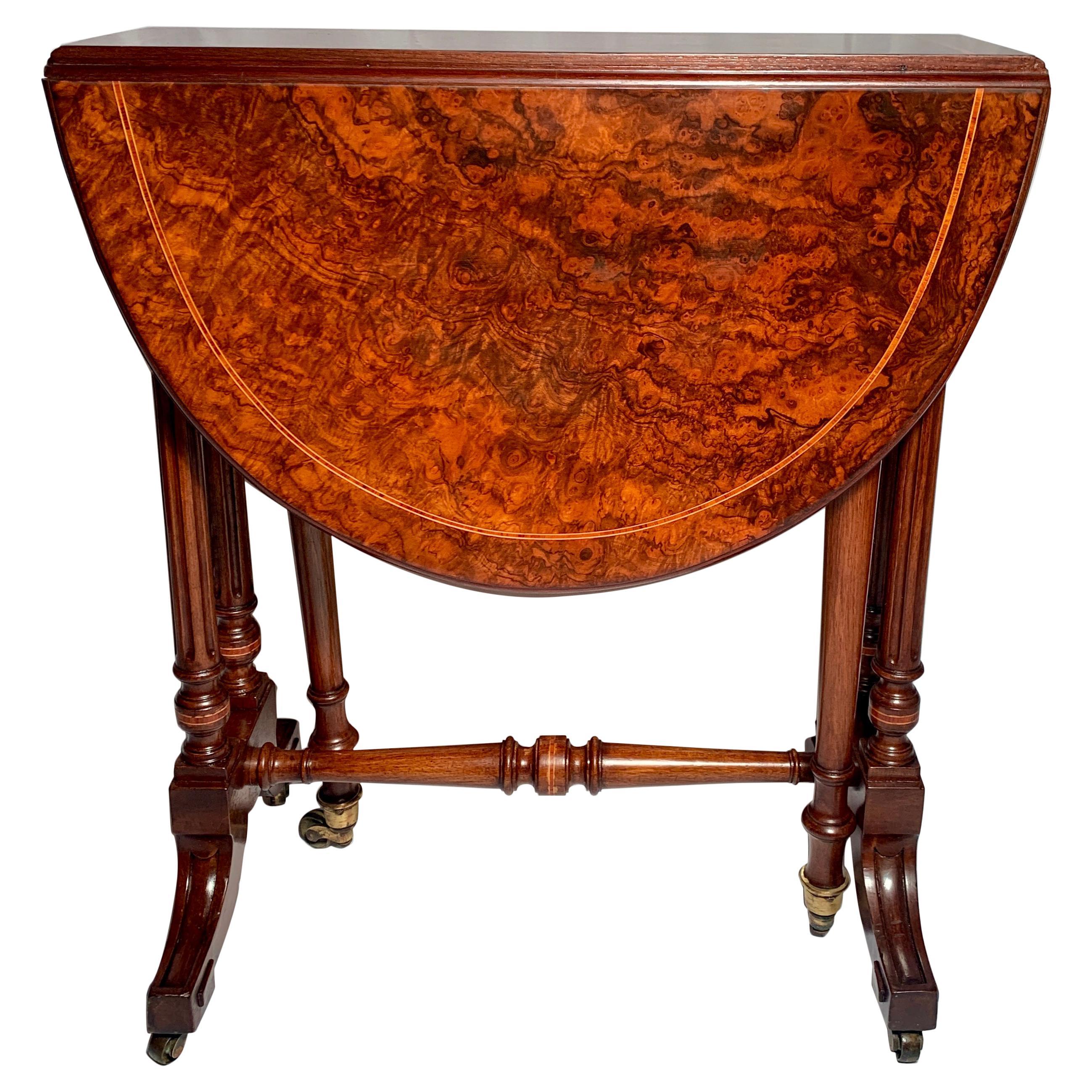 Antique English Burl Walnut Miniature Sutherland Table