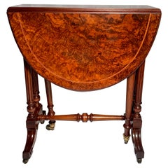 Antique English Burl Walnut Miniature Sutherland Table